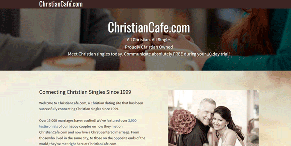 Screenshot of the ChristianCafe homepage