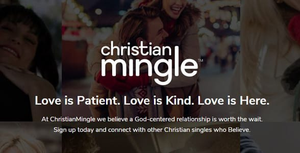 Screenshot of Christian Mingle's homepage