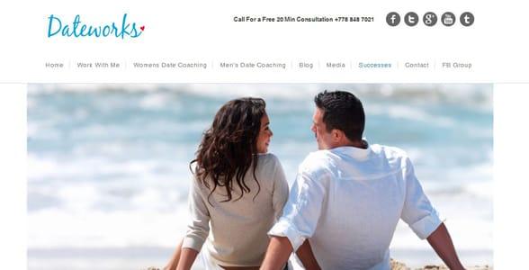Screenshot of the DateWorks homepage
