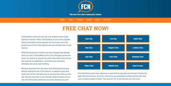 Screenshot of the FreeChatNow homepage