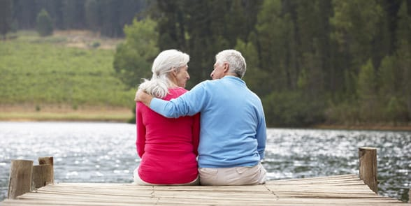 Photo of a couple sitting on a dock