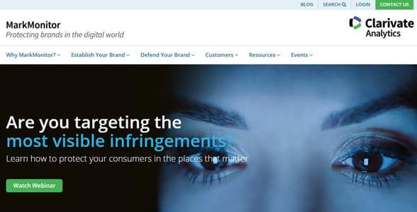 Screenshot of MarkMonitor's homepage