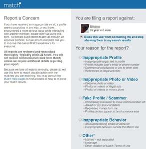 Screenshot of Match's Report a Concern form