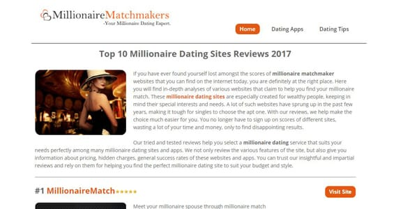 Screenshot of MillionaireMatchmakers.us