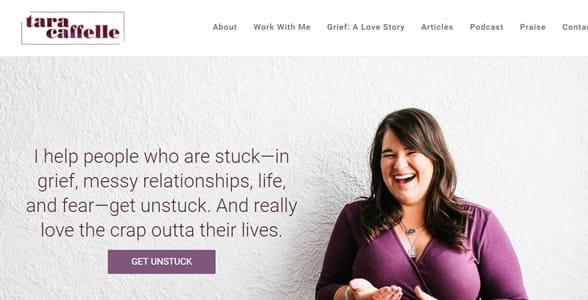Screenshot of Tara Caffelle's website