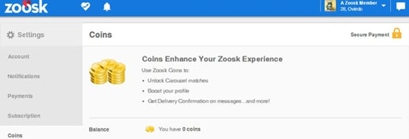 Screenshot of Zoosk's coin FAQ