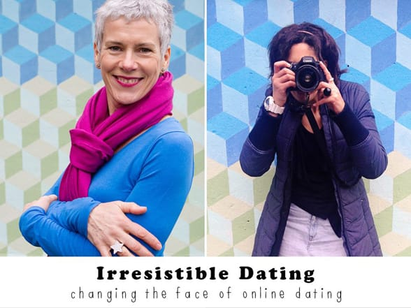 Photos of Rebecca Perkins and Saskia Nelson and the Irresistible Dating logo