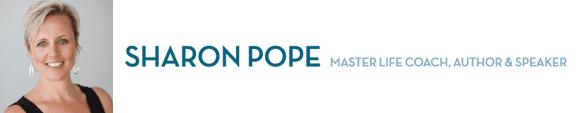 Sharon Pope's headshot and logo