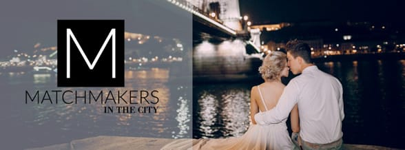 Photo of the Matchmakers in the City logo and a couple kissing by a bridge