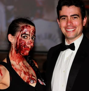 Photo of Abel Horwitz, Founder of Serial Killer Speed Dating, and an actress