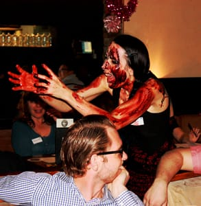 Photo of an actress covered in fake blood