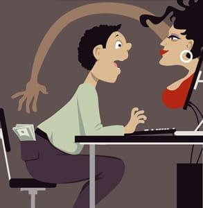 Cartoon of an online dating scam artist