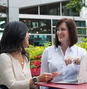 Photo of Jennifer Spaulding speaking to a client