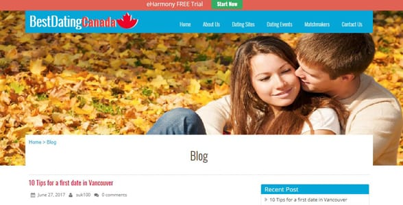 Screenshot of Best Dating Canada's blog