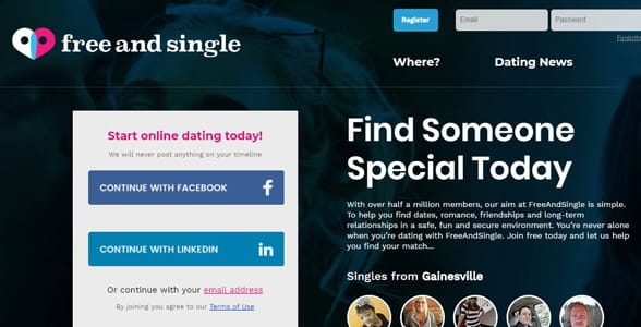 Screenshot of FreeAndSingle.com's homepage
