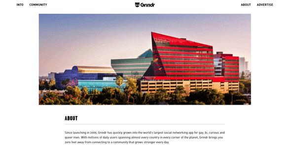 Screenshot of the Grindr homepage