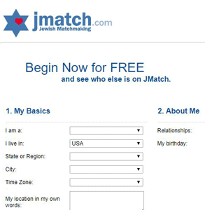 Screenshot of JMatch's signup page