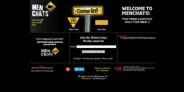 Screenshot of the MenChats homepage