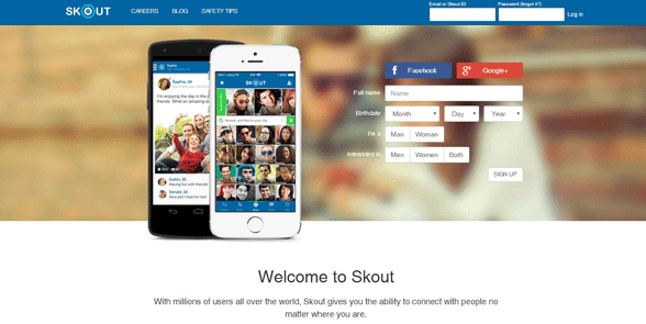 Screenshot of the Skout homepage