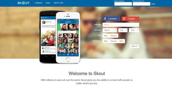 Screenshot of the Skout homepage