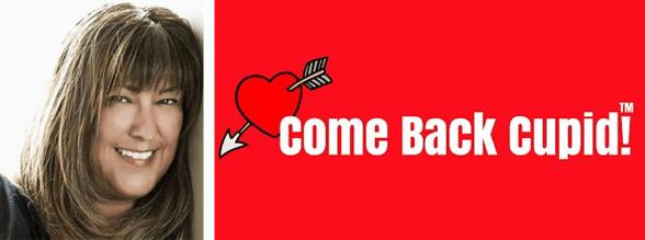 Judi Bonilla's headshot and the Come Back Cupid logo