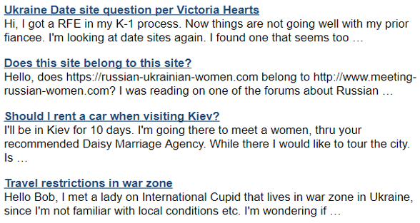 Screenshot of Meeting Russian Women reader questions