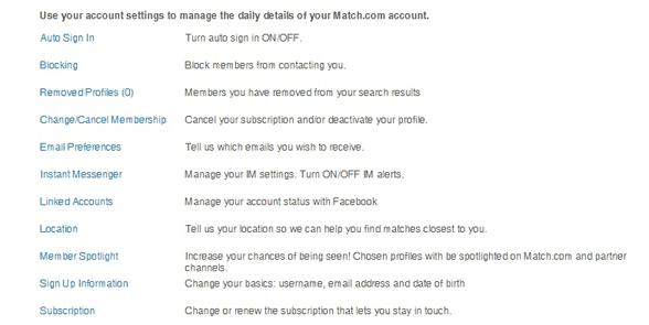 Screenshot of Match's settings page