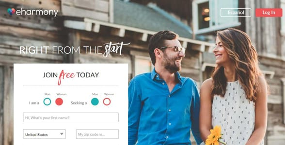 Screenshot of eHarmony's homepage