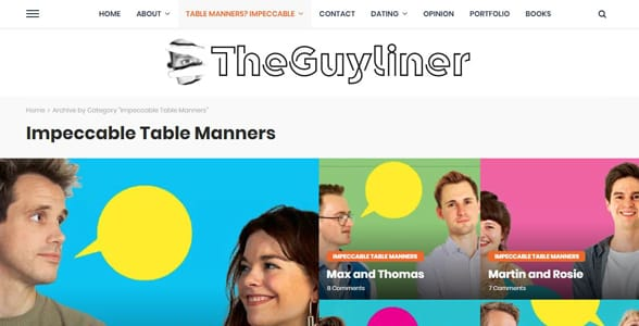 Screenshot of the Impeccable Table Manners section