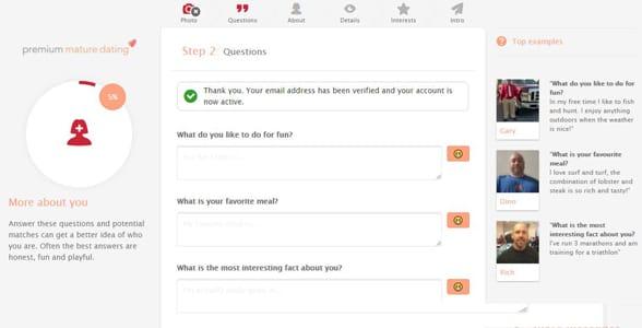 Screenshot of Premium Mature Dating's signup process