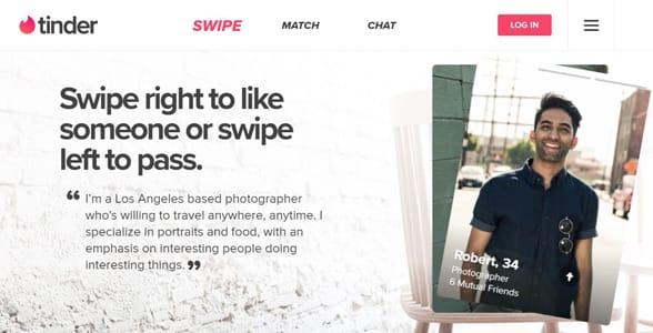 Screenshot of Tinder's landing page
