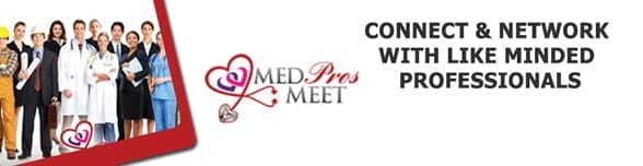 The MedProsMeet logo and a photo of medical professionals
