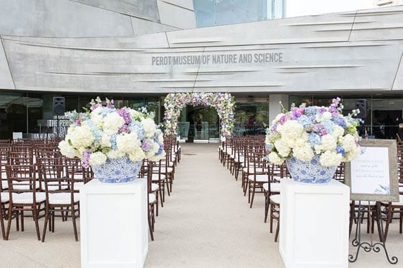 Photo of a wedding stage at Perot Museum