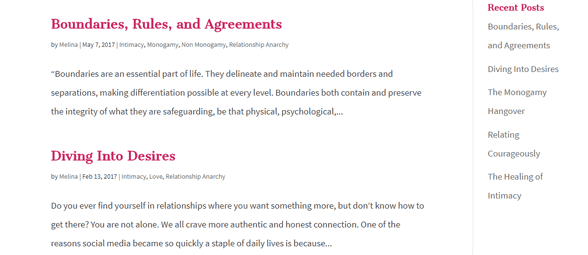 Screenshot of the Radical Relationship Coaching blog