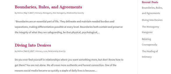Screenshot of the Radical Relationship Coaching blog