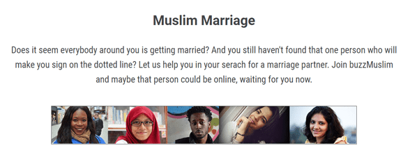 Screenshot from the buzzMuslim marriage page