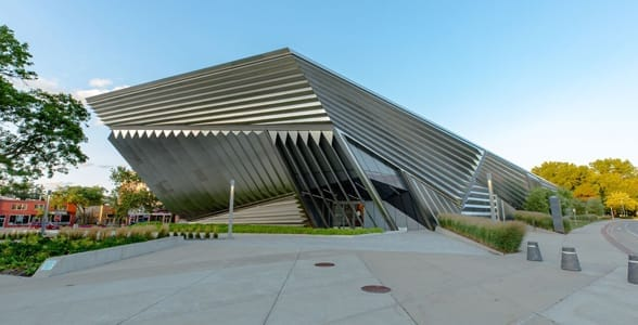 Photo of the outside of the Eli and Edythe Broad Art Museum