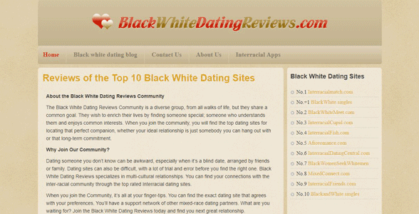 Screenshot of BlackWhiteDatingReviews.com
