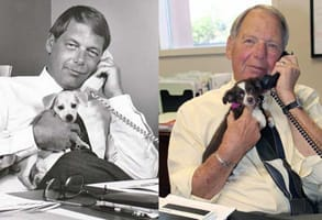 Side-by-side photos of CEO Bob Rohde at his desk in the '70s and today