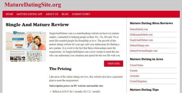 Screenshot of a MatureDatingSite.org review