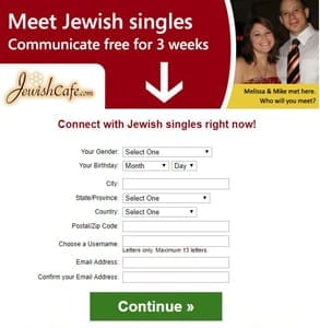 Screenshot of JewishCafe.com's signup page