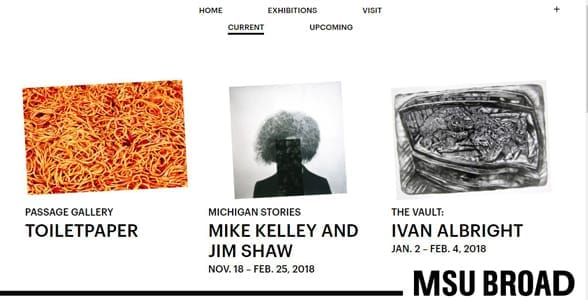 Screenshot of the MSU Broad's exhibition page