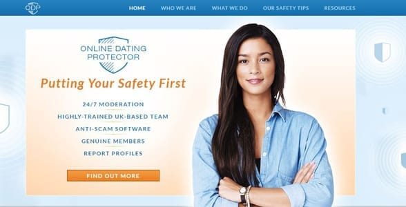 Screenshot of Online Dating Protector's homepage