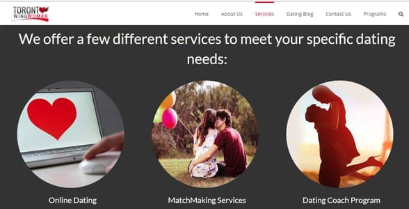 Screenshot of Toronto Wingwoman's services page