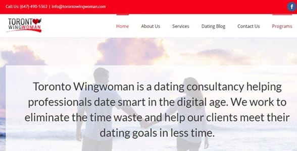 Screenshot of Toronto Wingwoman's website