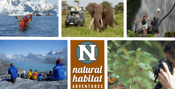 Collage of photos of outdoor adventures and the Natural Habitat Adventures logo