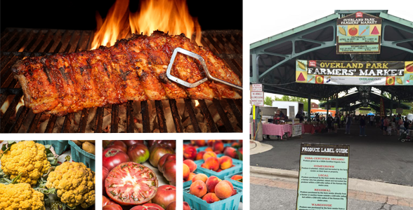 Collage of photos of BBQ, fresh produce, and the farmers' market