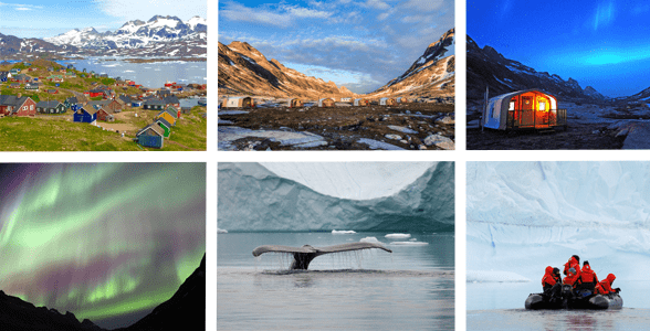 Collage of photos of Natural Habitat Adventures Discover Greenland trips
