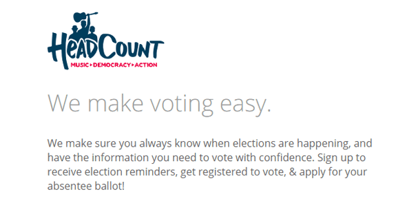 Screenshot from HeadCount's TurboVote page