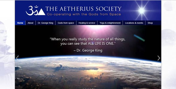 Screenshot of Aetherius Society's homepage